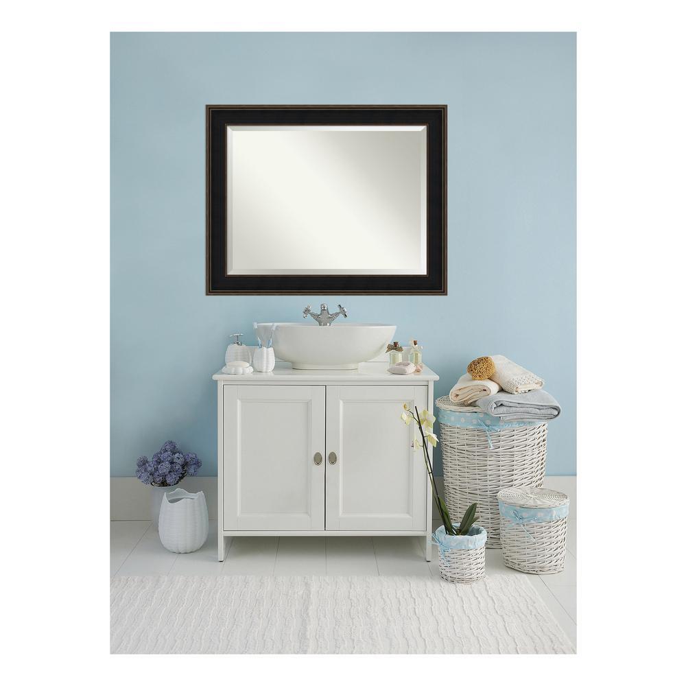 Mezzanine Espresso Bronze Wood 48 in. W x 38 in. H Single Contemporary Bathroom Vanity Mirror