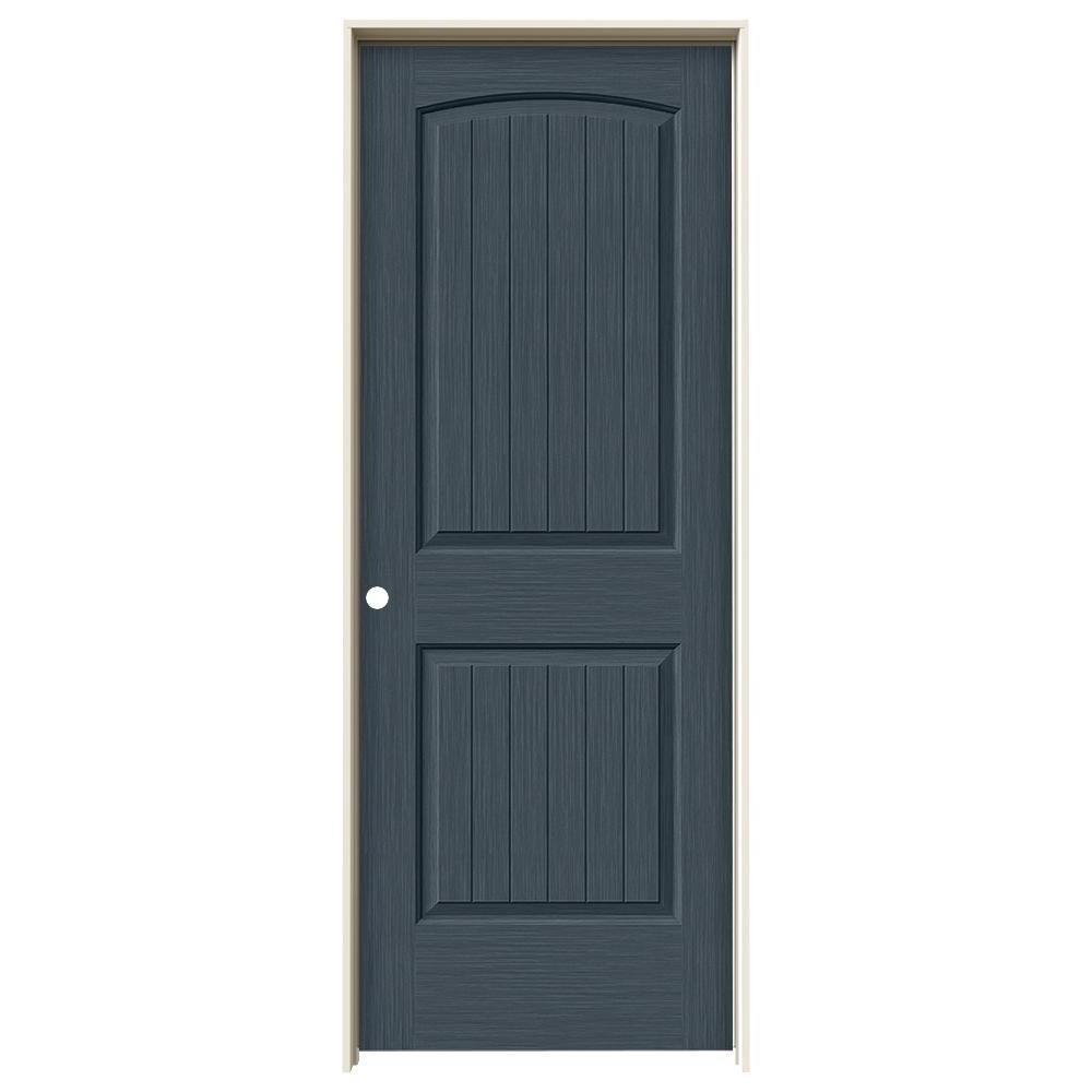 30 in. x 80 in. Santa Fe Denim Stain Right-Hand Solid Core Molded Composite MDF Single Prehung Interior Door