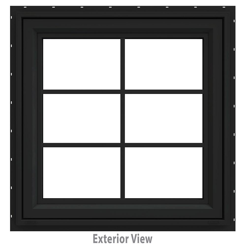 JELD-WEN 30 in. x 36 in. V-4500 Series Bronze FiniShield Vinyl Awning Window with Colonial Grids/Grilles