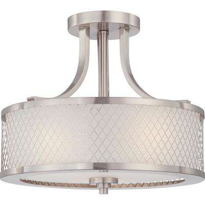 Ariana 13.75 in. 3-Light Brushed Nickel Semi-Flush Mount