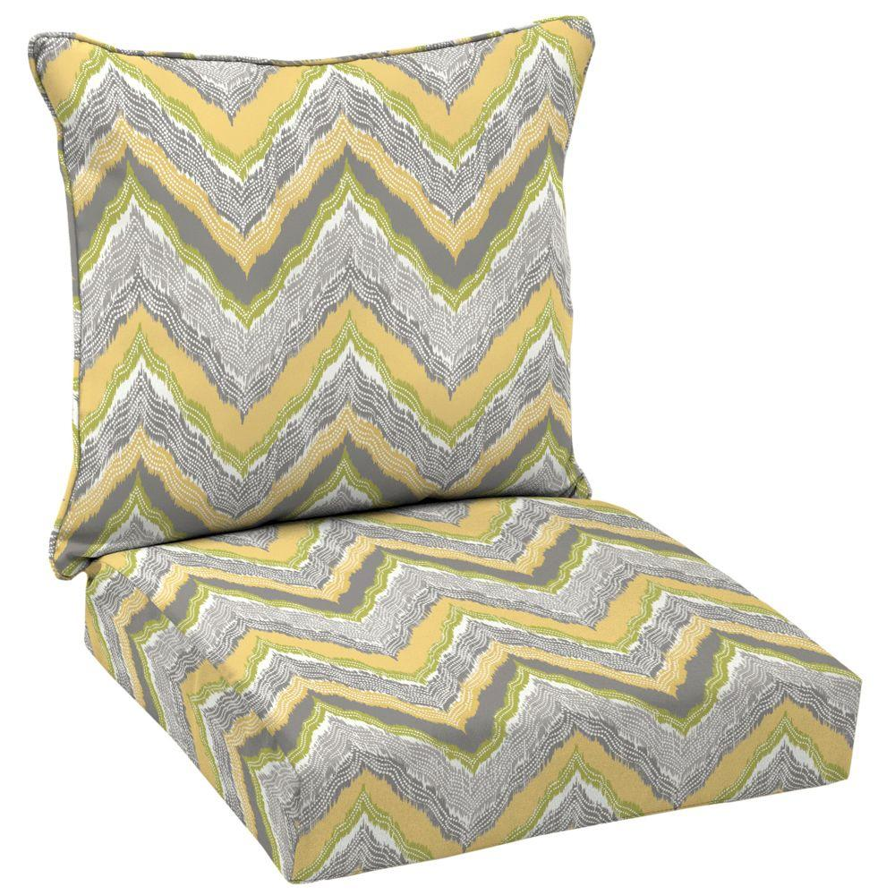 Hampton Bay Seville Welted 2 Piece Deep Seating Outdoor Lounge Chair Cushion