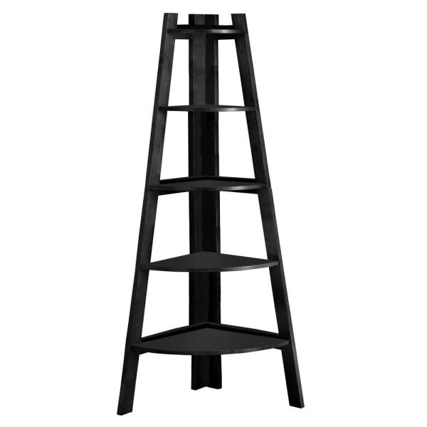 63.25 in. Black Wood 5-shelf Ladder Bookcase with Open Back
