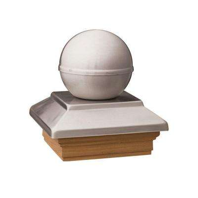 Pressure-Treated 4 in. x 4 in. Pine Polished Stainless Ball Top Post Cap