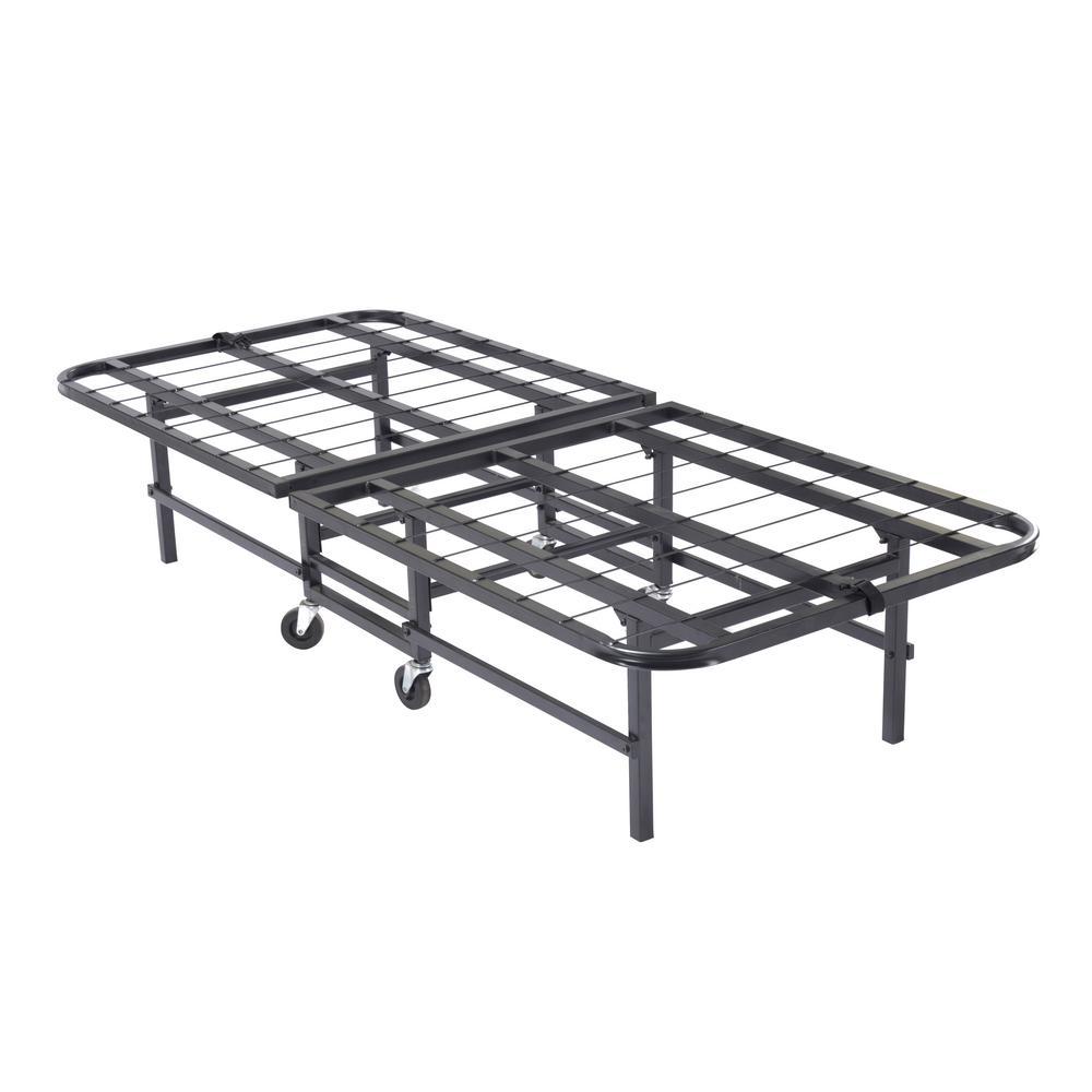 30 in. Black Heavy Duty Metal Platform Folding Bed Frame