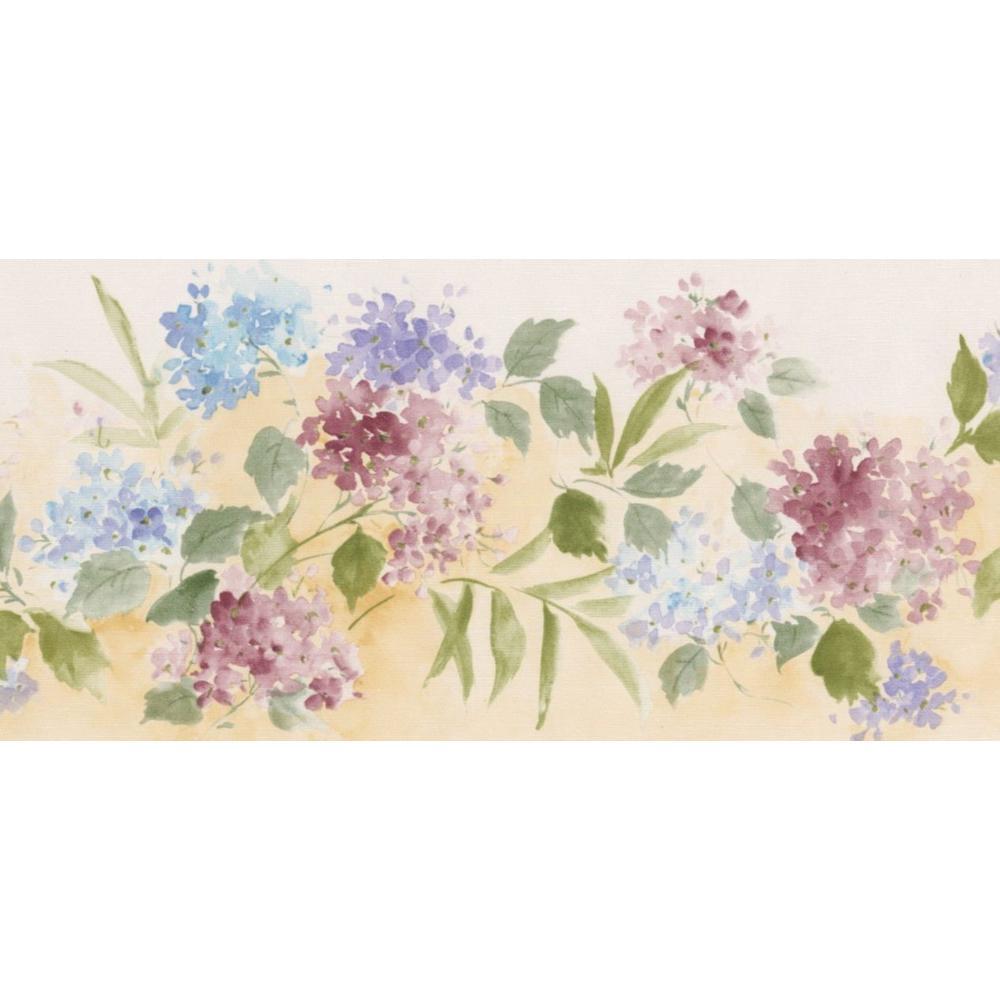 Norwall Pink Blue Flowers Floral Prepasted Wallpaper Border