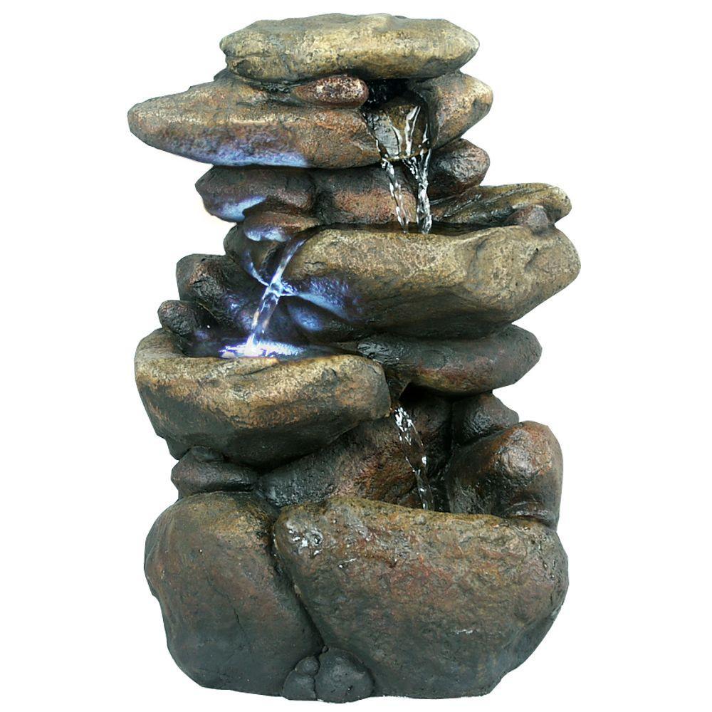 11 in. 3-Tier Rock Tabletop Fountain