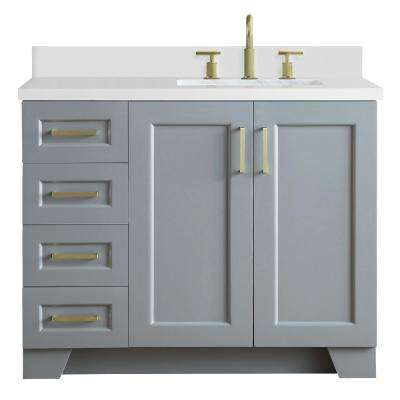 Taylor 43 in. W x 22 in. D Bath Vanity in Grey with Quartz Vanity Top in White with Right Offset White Rectangle Basin