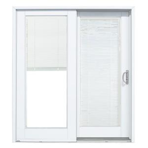 Mp Doors 72 In X 80 Smooth White Right Hand Composite Sliding Patio Door With Low E Built Blinds G6068r002wle The Home Depot