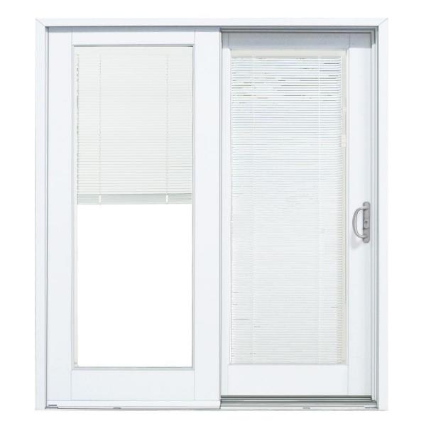 72 in. x 80 in. Smooth White Right-Hand Composite Sliding Patio Door with Low-E Built in Blinds
