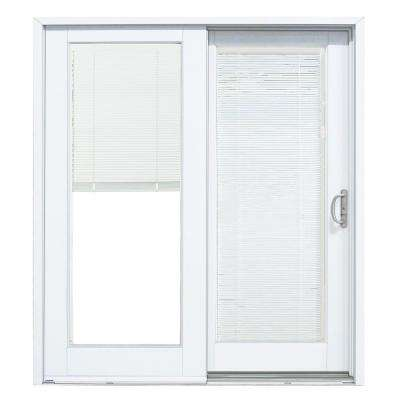 72 in. x 80 in. Smooth White Right-Hand Composite DP50 Sliding Patio Door with Low-E Built in Blinds