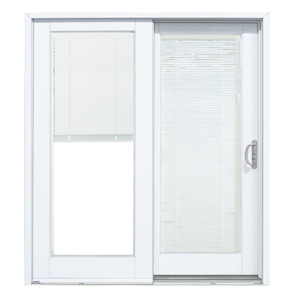 MasterPiece 72 in. x 80 in. Smooth White Right-Hand Composite Sliding Patio Door with Built in Blinds