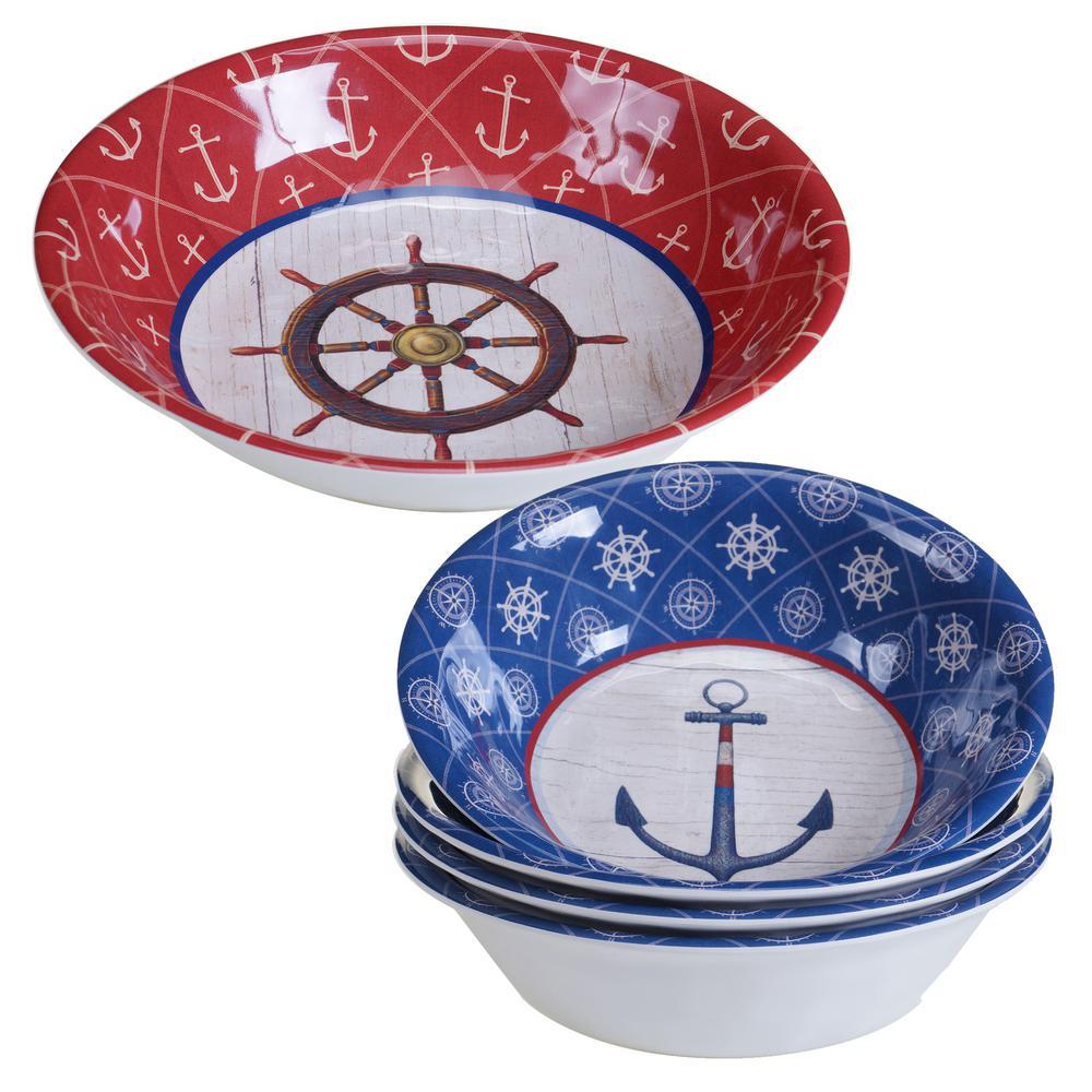 Nautique 5-Piece Blue Salad and Serving Set