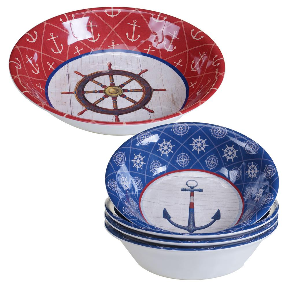 Nautique 5-Piece Blue Salad and Serving Set