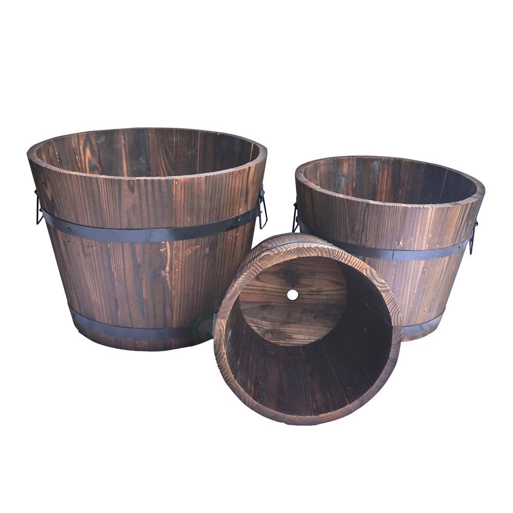 Extra Large Wooden Whiskey Barrel Planters (Set of 3)