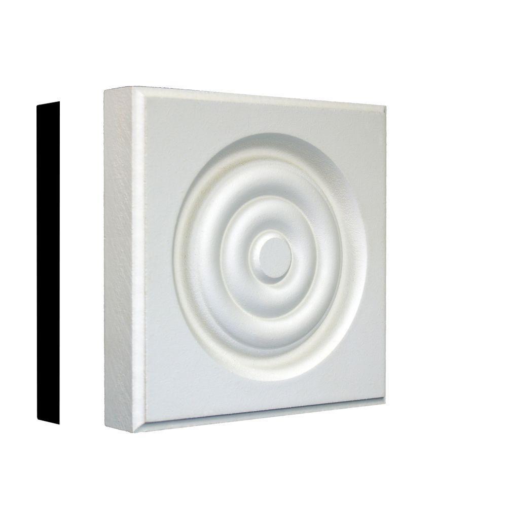 7/8 in. x 4-3/4 in. x 4-3/4 in. Primed MDF Rosette Corner Block Moulding