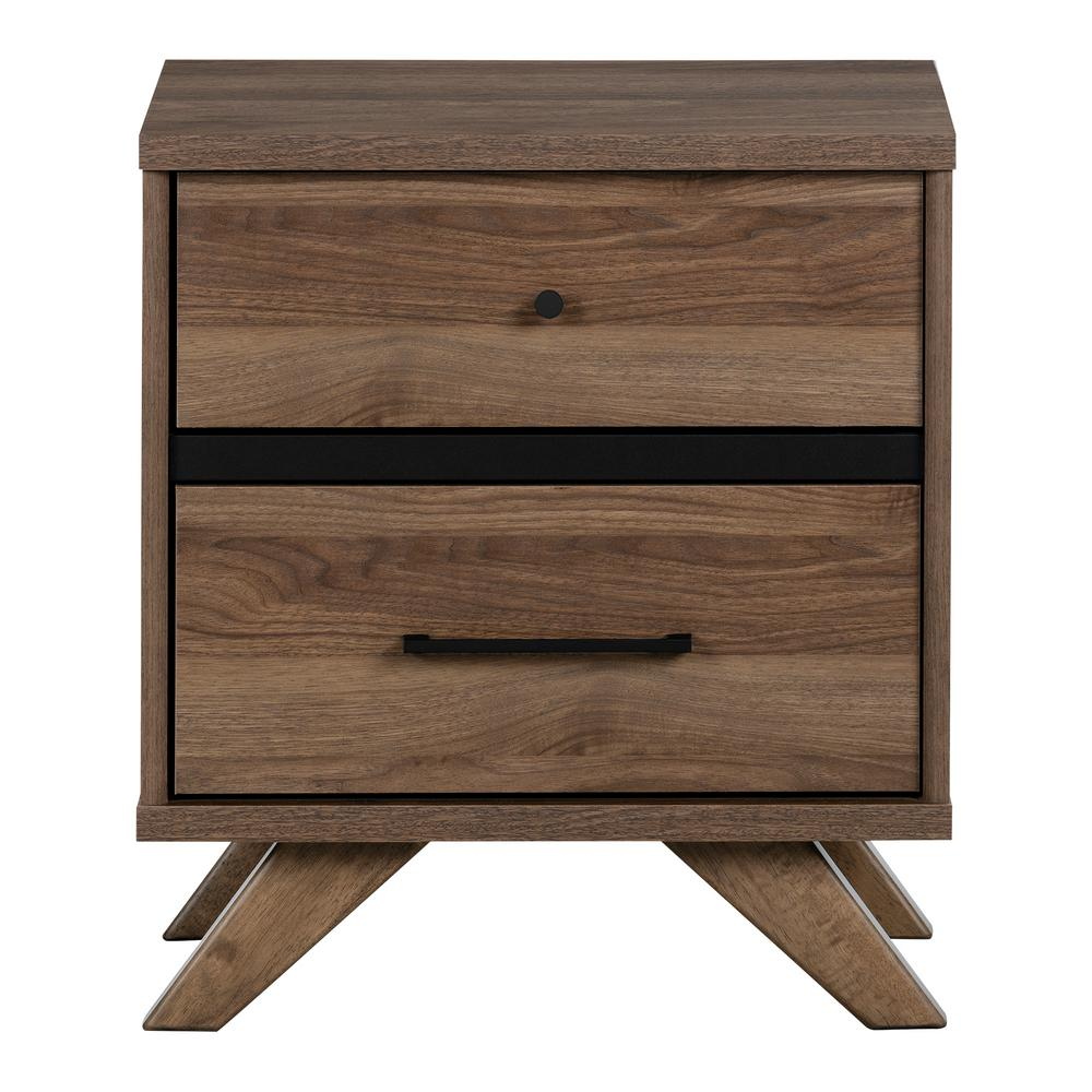 Flam 2 -Drawer Natural Walnut and Matte Black Nightstand
