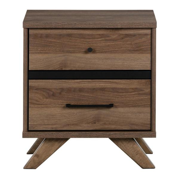 South Shore Flam 2 -Drawer Natural Walnut and Matte Black Nightstand