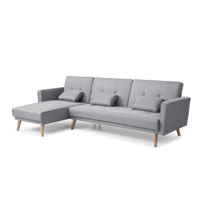 98.5 in. Gray Linen 3-Seater Twin Sleeper Sectional Sofa Bed with Tapered Legs