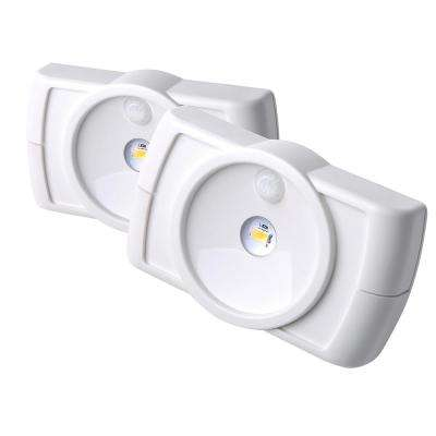 Wireless Motion Activated LED Slim Task Night Light in White (2-Pack)