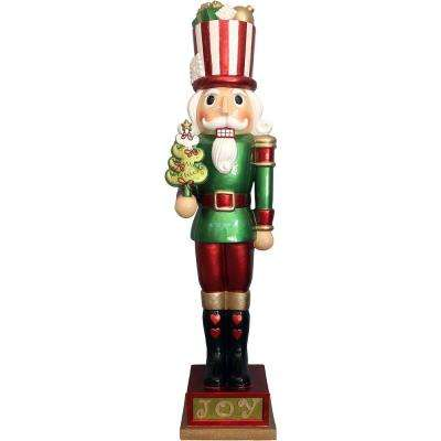 4 ft. Christmas Candy-Look Nutcracker Greeter Holding Tree in Green