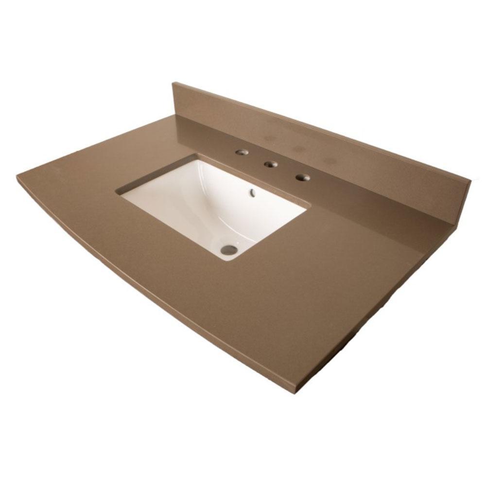 Madera 36 in. W x 22.8 in. D Quartz Single Basin Vanity Top in Gray with White Basin