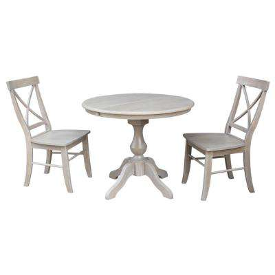 Sophia 3-Piece Oval Weathered Gray Dining Set with Alexa Chairs