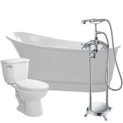 Prima 67 in. Acrylic Flatbottom Non-Whirlpool Bathtub in White with Tugela Faucet and Kame 1.28 GPF Toilet