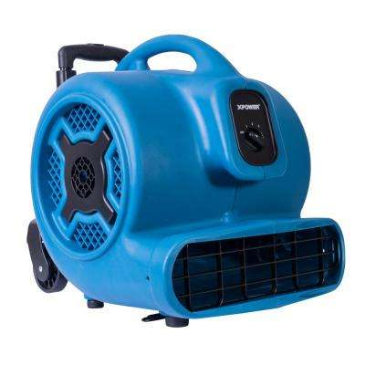 1 HP 3600 CFM 3 Speed Air Mover Carpet Dryer Floor Fan Blower with Telescopic Handle and Wheels