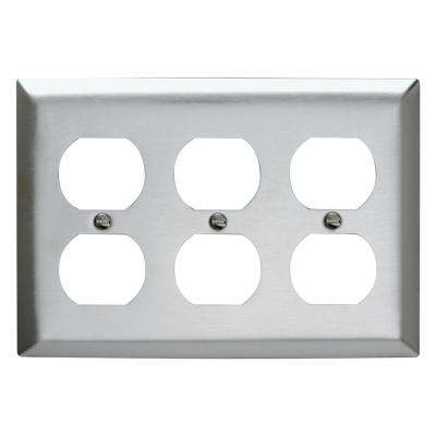 302 Series 3-Gang Duplex Wall Plate in Stainless Steel