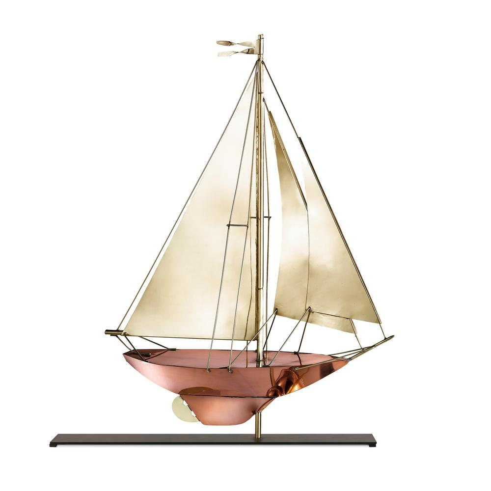Good Directions Racing Sloop Copper And Brass Table Top Sculpture    Nautical Home Decor