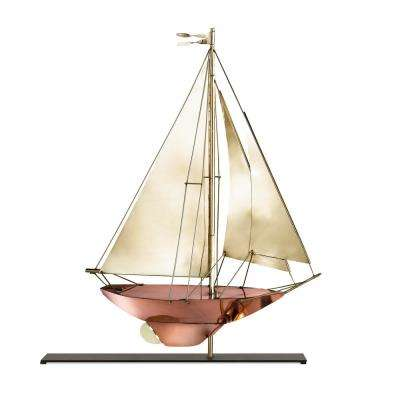 Racing Sloop Pure Copper and Brass Weathervane Sculpture on Iron Mantel Stand