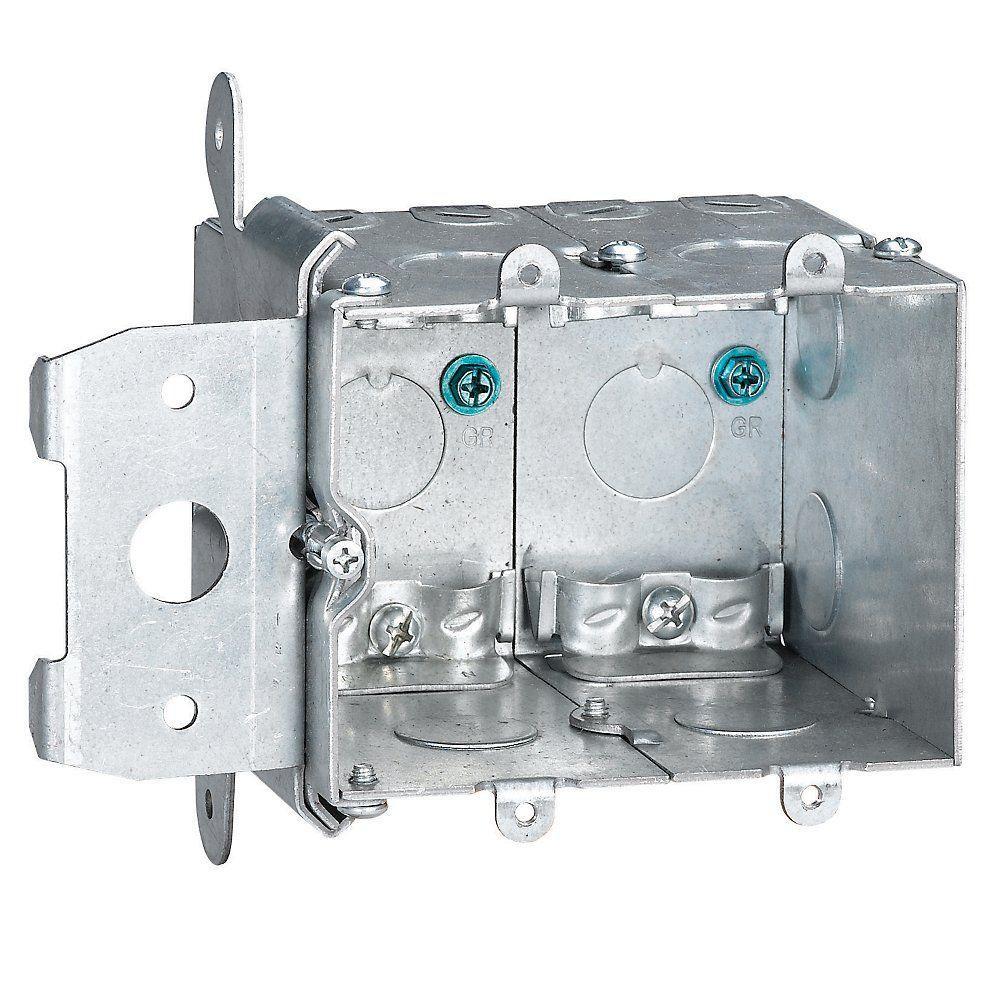 2-Gang 38 cu. in. Metallic Adjustable Wall Box (Case of 3)