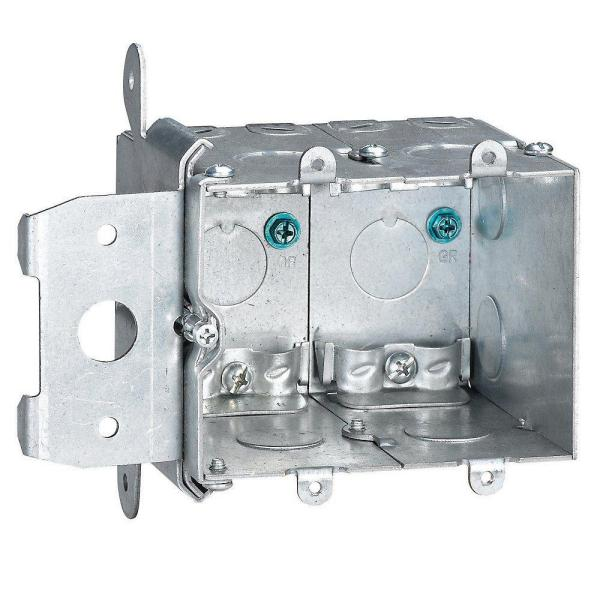 2-Gang 38 cu. in. New Work Metallic Adjustable Electrical Wall Box (Case of 3)