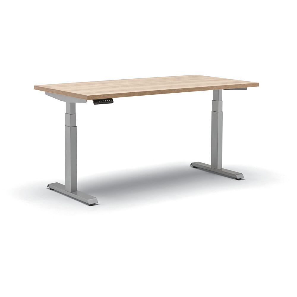 30 in. Rectangular Beige Standing Desk with Adjustable Height Feature