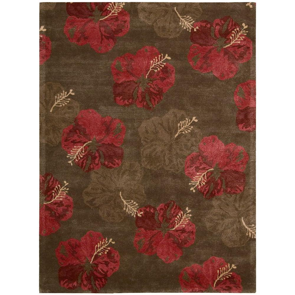 Nourison Overstock Lakeside Chocolate/Red 7 ft. 6 in. x 9 ft. 6 in. Area Rug