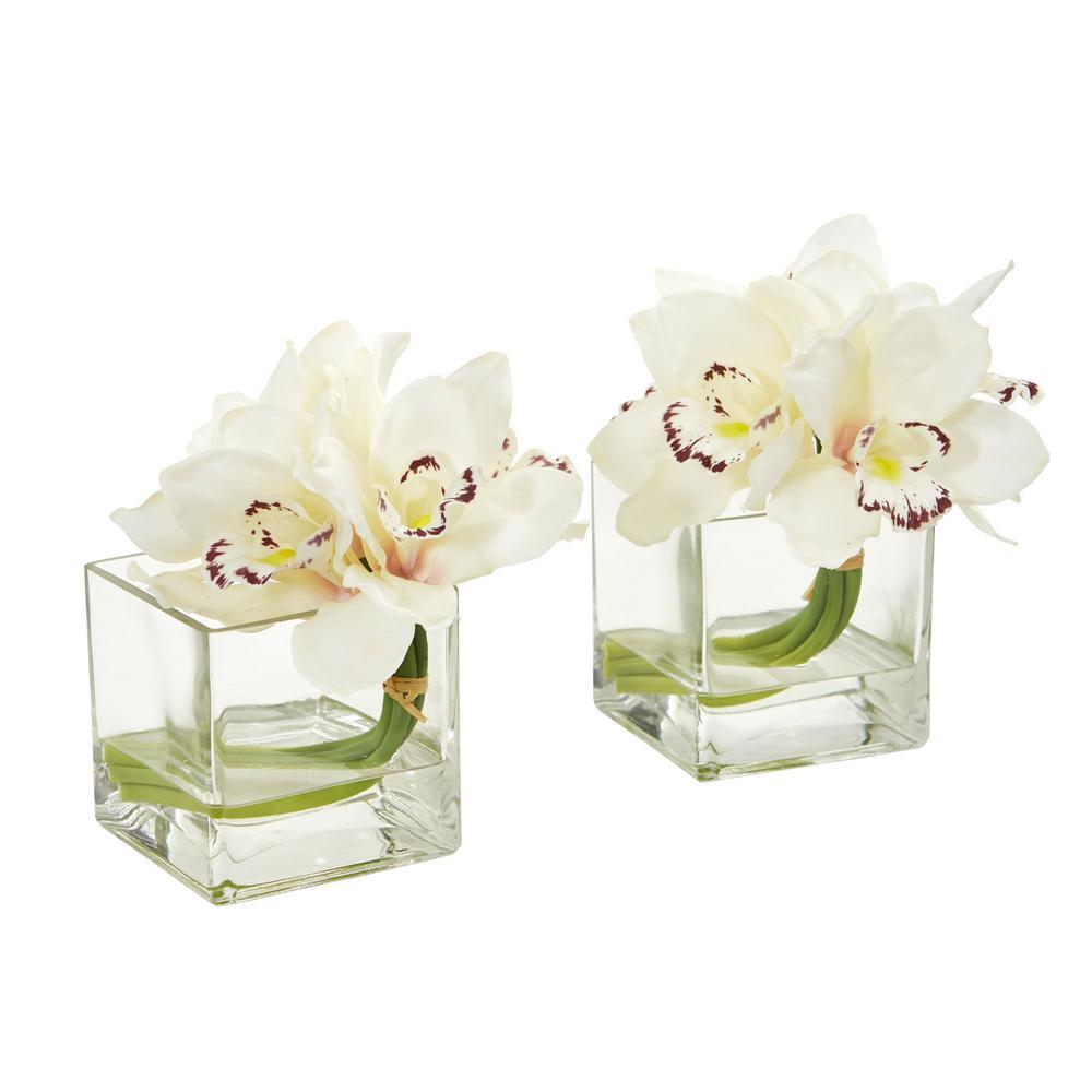 Indoor Cymbidium Orchid Artificial Arrangement in Glass Vase (Set of 2)