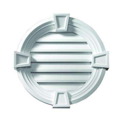 33-1/4 in. x 33-1/4 in. x 4-3/32 in. Polyurethane Decorative Round Louver with Deco Trim and Keystones