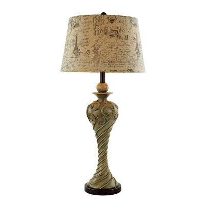 Hardwiredplug in table lamps lamps the home depot whie patina table lamp with illustrated fabric shade greentooth Gallery