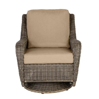 Cambridge Gray Wicker Outdoor Patio Swivel Rocking Chair with CushionGuard Toffee Solid Cushions