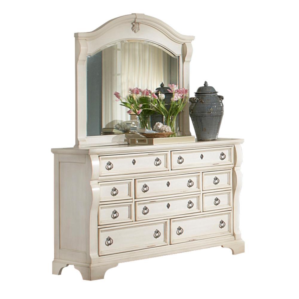 Heirloom 10-Drawer Antique White Dresser with Mirror