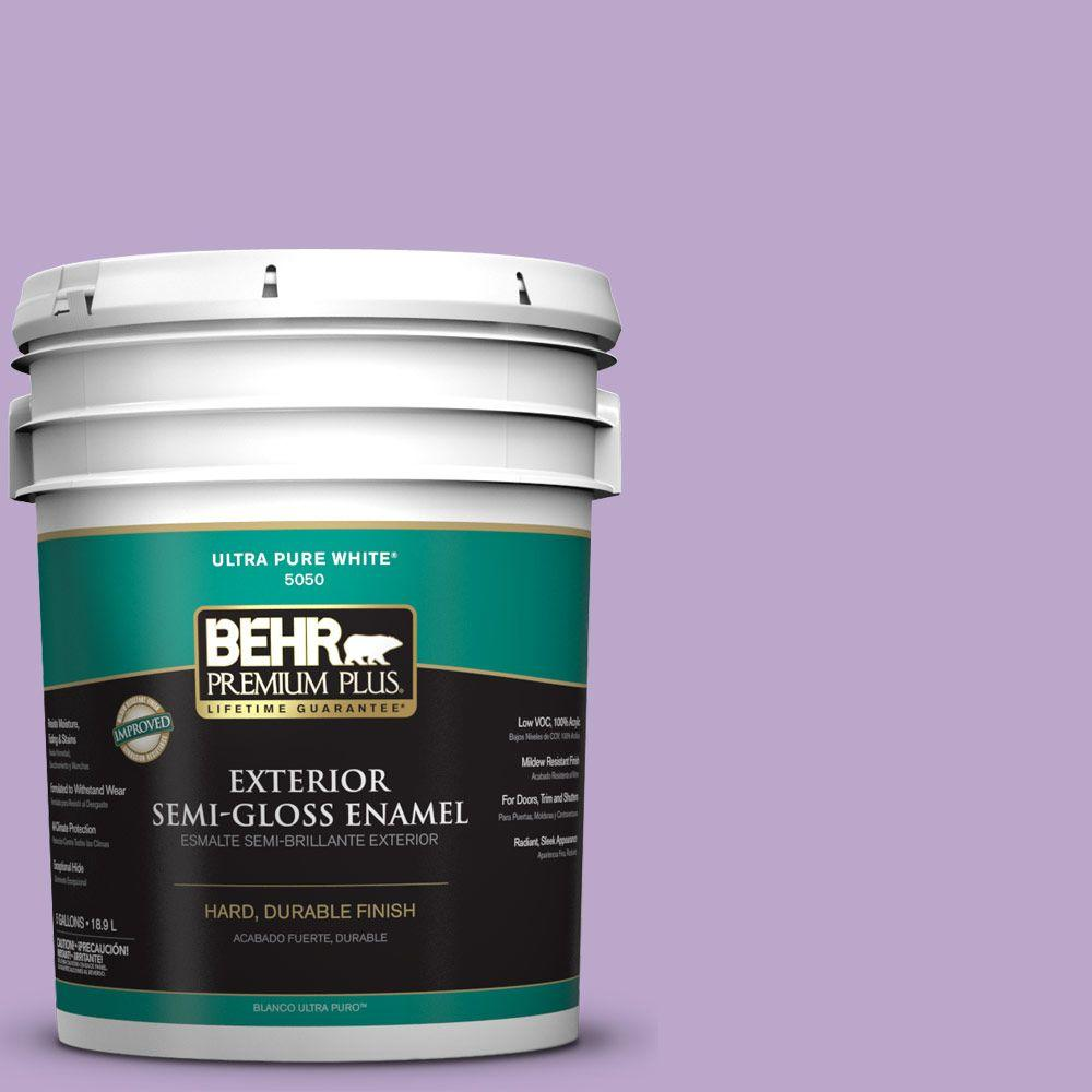 BEHR Premium Plus 5-gal. #M570-4 Cyber Grape Semi-Gloss Enamel Exterior Paint