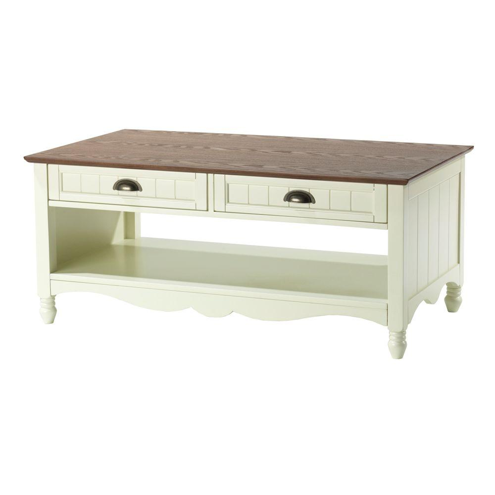 Home Decorators Collection 42 in. W Southport Ivory and Oak Coffee Table