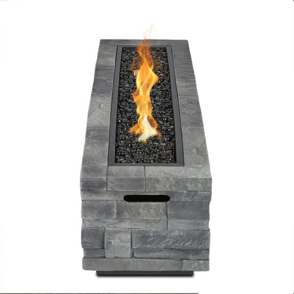 Real Flame Ledgestone 48 In X 15 In Rectangle Fiber Concrete Propane Fire Pit Table In Gray Ledgestone With Ng Conversion Kit Ct0003lp Gls The Home Depot