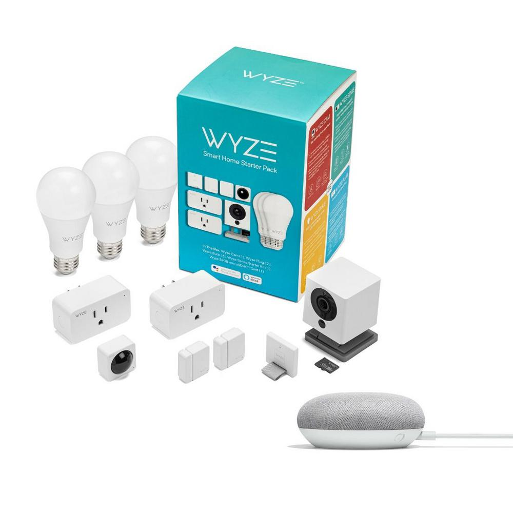 Wyze Smart Home Starter Pack with Google Home Mini in Chalk, White