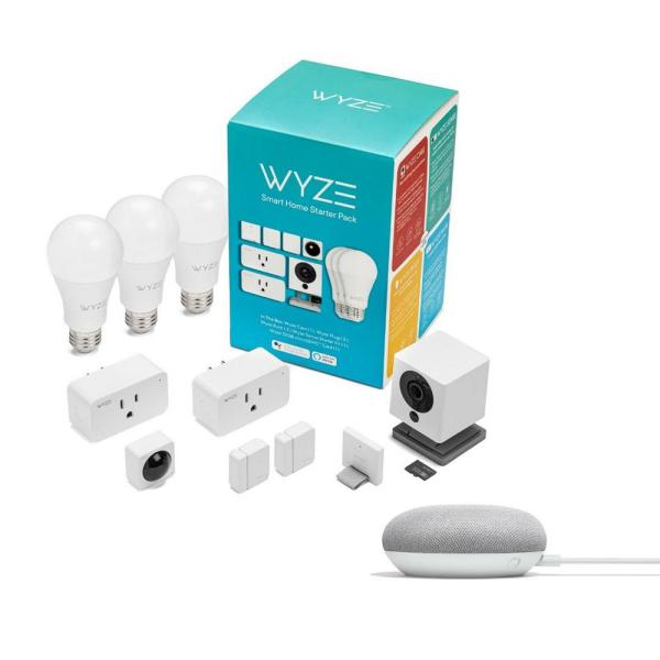 Smart Home Starter Pack with Google Home Mini in Chalk
