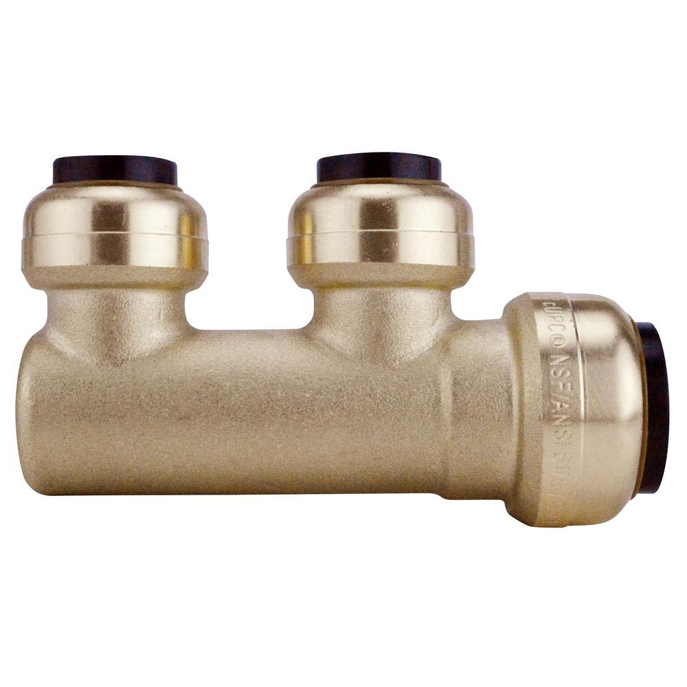 Tectite 3/4 in. Brass Push-To-Connect Inlet x 1/2 Brass Push-To-Connect Outlets 2-Port Closed Manifold