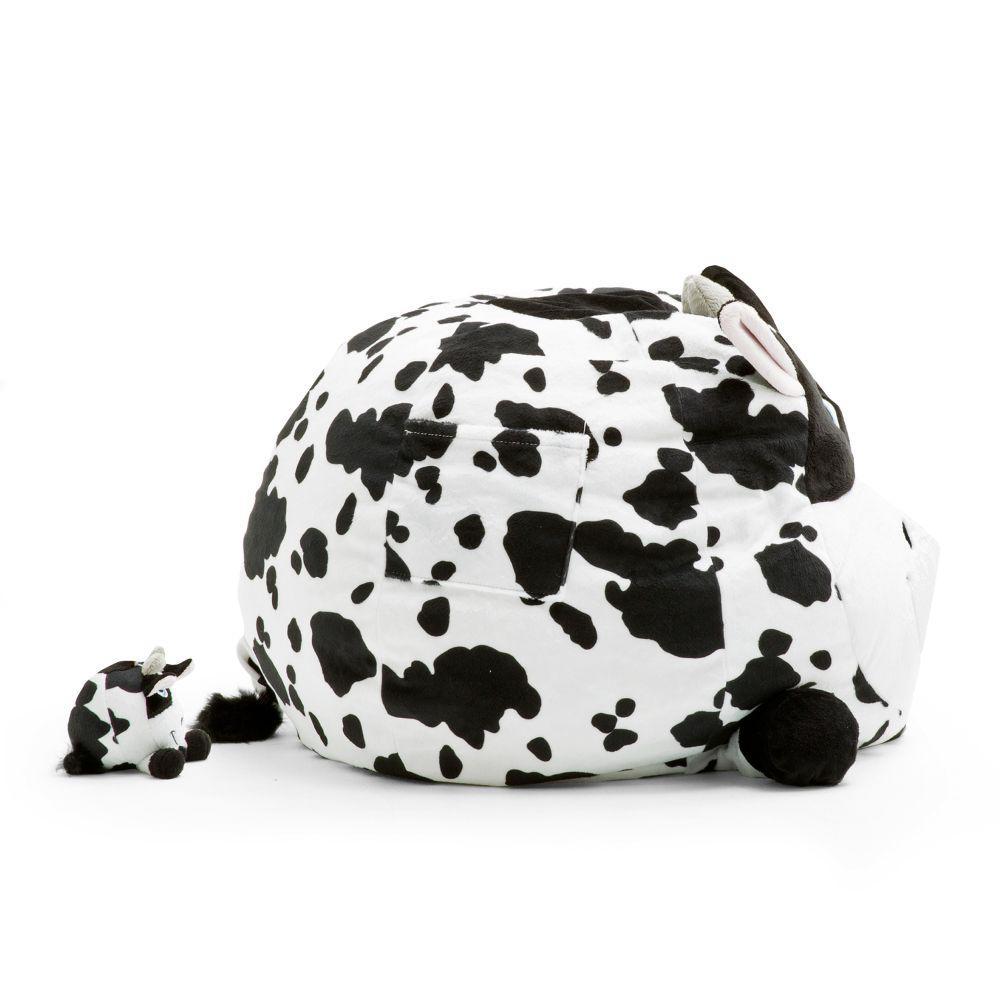 Amazing Big Joe Chloe The Cow Cozy Black And White Plush Bean Bag Cjindustries Chair Design For Home Cjindustriesco