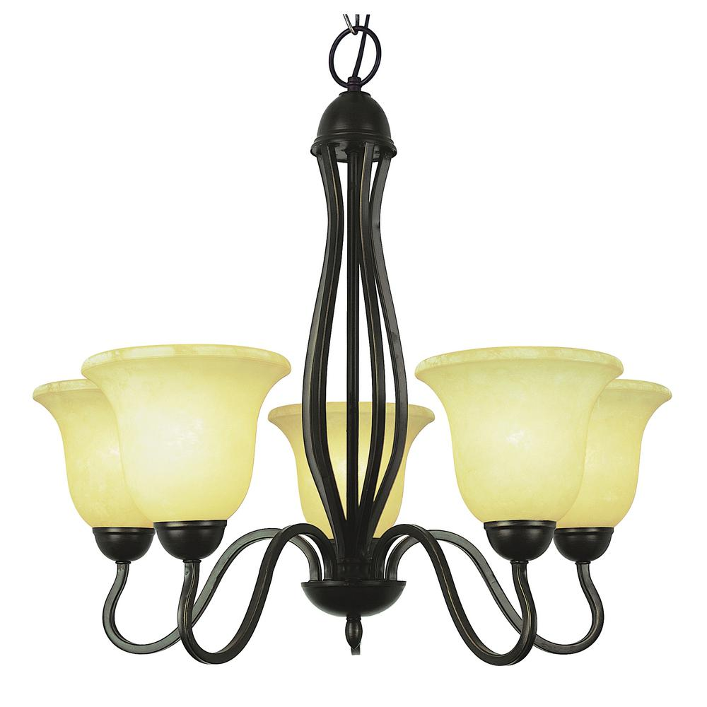 Bel Air Lighting Glasswood 5 Light Rubbed Oil Bronze Chandelier With Frosted Shades