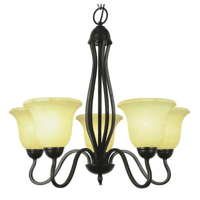 Glasswood 5-Light Rubbed Oil Bronze Chandelier with Frosted Shades