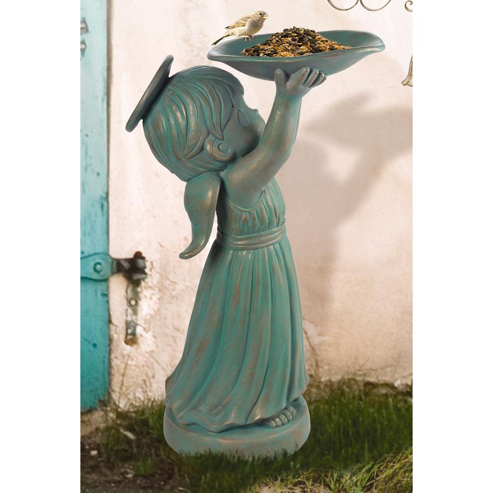 Precious Moments Chapel Angel 24 in. Resin Bird Feeder Statue, Green A beautiful angel with a verdigris finish holds a basin up for the benefit of any feathered friends flying about. Inspired by the angels lining the walkways to the Precious Moments Chapel, this uplifting design is sure to bring peace and joy to your garden Give this graceful angel as a housewarming gift, a birthday gift, Mothers Day gift, thinking of you gift or just because gift for anyone who loves to feather their nest. Crafted in durable resin. Fill with sand for weighted stability. Sand not included. Approximately 24 in. H. Color: Green.